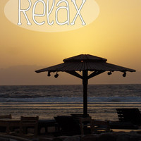 """Inspirational Poster – 8 x 10 Wall Art Print – Inspirational Quote """"Relax"""" – Sunset Seascape Beach Travel Photography - INSTANT DOWNLOAD"""