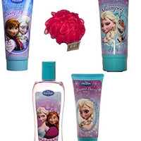 Disney's Frozen Bath and Body Bundle - 5 Items: Frozen Frosted Berry Collection of Bath Wash, Body Lotion, Bubble Bath and Shampoo, with a Bonus Jumbo Bath Sponge (Red)