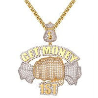 Icy Get Money First Dollar Bill Money Bag Hip Hop Pendant