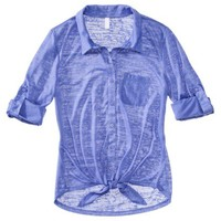 Mossimo Supply Co. Juniors Button Down Tie Waist Top - Assorted Colors