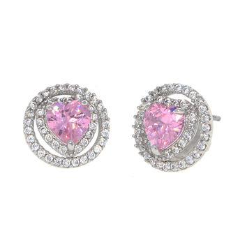 Dear Deer White Gold Plated Heart Pink Cubic Zirconia Stud Earrings