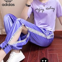 Adidas Casual Letter Edgy Round Neck Fashion Two-Piece Suit Clothes