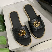 GG womens double G flat metal buckle one-line outer slippers shoes-2