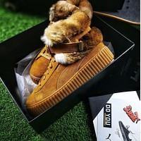 Puma Fenty Creeper x Buscemi Fur Winter Models Brown Yellow Shoes