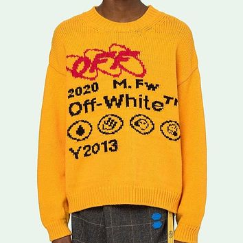 Off White Autumn And Winter Fashion New Letter Print Long Sleeve Top Sweater Yellow