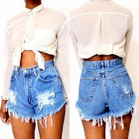 Womens Ripped Hot Pants Jeans Ladies High Waisted Stonewash Denim Shorts Jeans