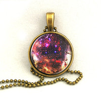 10% SALE Necklace Rose Red Galaxy Jewelry Universe Space Pendant Necklaces,Constellation,Gift For Her