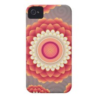 Floral Print Coral Gray Grey Girly Flowers Pop Art iPhone 4 Cover