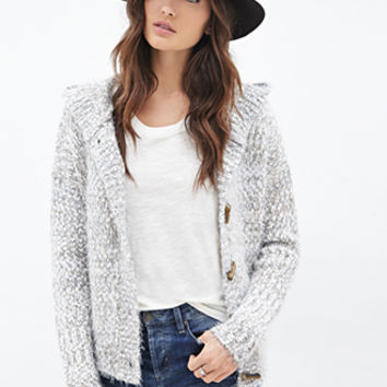 Fuzzy Hooded Toggle Cardigan