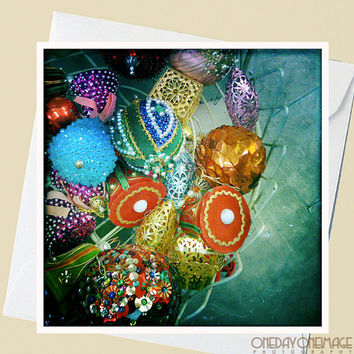 Christmas Baubles - 5x5 Square Eco Flat Card or Folded Note Card - Fine Art Photography
