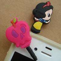2in1 New Cute Disney Snow White 3.5mm Earphone Jack Anti Dust Cap Plug X2 for Cell Phone with 3.5mm Earphone Hole iPhone Samsung LG Nokia iPod Mp3 FREE GIFT One pack X6 The Smurfs Home Button Sticker for iPhone iPad Touch Nano