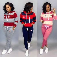 Champion sells casual women's two-piece suit with striped patchwork logo and printed hoodie
