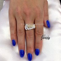 Gold Plated or Silver Any Name Ring/ PERSONALIZED- by LoveJewelryByJenny
