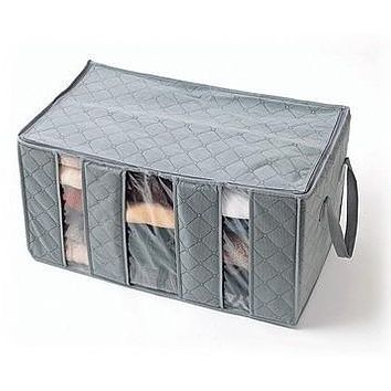Simple Life Bamboo Charcoal Non-Woven Fabric 65L Storage Box Storage Bag Bamboo Charcoal Clothing Storage Box Storage Box