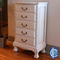 International Caravan Antique White Carved Wood Five Drawer Jewelry Cabinet