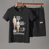 D&G Dolce & Gabbana Men Fashion Black shorts T-Shirt Top Tee