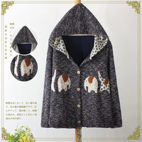 Animal Embroidered Hoodie Button Knitted Shirt