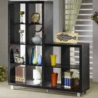 A.M.B. Furniture & Design :: Office Furniture :: Book Shelfs :: Black finish wood two level bookcase shelf wall unit with metal accents