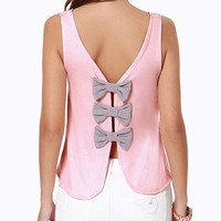 Amazon.com: Womens Elegant Butterfly Knot Back Open Back Casual Tank Tops