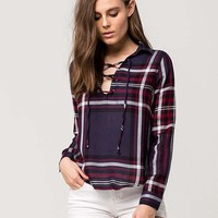 POLLY & ESTHER Lace Up Womens Plaid Shirt | Shirts + Flannels