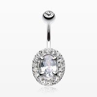 Grand Sparkle Prong Gem Belly Button Ring