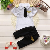 Kids Clothes Suits Children Baby Boys Clothing Sets Cotton Kids Tie Gentleman Outfits Child Short Sleeve Tops T Shirt