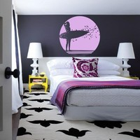 Surfer girl with her surfboard and a sunrise -- vinyl wall art decals graphic sticker by 3rdaveshore