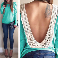 Long Sleeve O-neck Backless Lace Trim Blouse Shirt Tops
