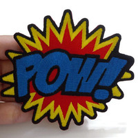 POW! Comic Cartoon Word New Sew / Iron On Patch Embroidered Applique Size 10cm.x8.8cm.