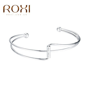 ROXI New Rose Gold Color Cuff Bangle for Women Hollow Out Female Irregular Bracelets & Bangles Fashion Jewelry Party Accessory