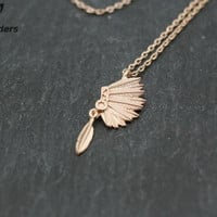 Gold Silver Native Americans Indian Headdress Charm Necklace