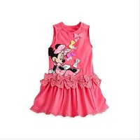Children clothing Summer cartoon girl dresses Minnie mouse casual cotton bow sleeveless dress rose cute bow appliques free ship