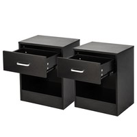 Set of 2 Density Board Night Stands/Side tables with Drawer - Black