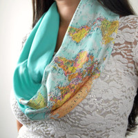 Aqua World Map Infinity Scarf