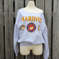 Marines Military Oversized Slouchy Women's Sweatshirt - Gray - SZ L