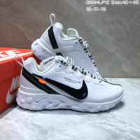 HCXX N652 UNDERCOVER x Nike Upcoming React Element Leather Big Logo Running Shoes White