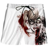 Beach Men Casual Shorts 2017 Suicide Squad Joker Harley Quinn 3D Print Fashion Boy Hip Hop Quick Dry Boardshorts Fitness Trouser