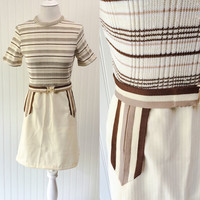Kendall dress // 1960s MOD cream & mocha striped ribbed knit mini w/matching belt // structural details // size S