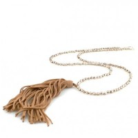 Tan Leather Tassel Necklace