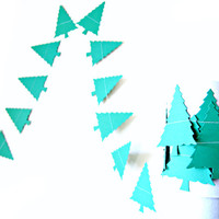 Dark Green Christmas Tree Garland - Holiday Decoration - Christmas Garland, Christmas Bunting
