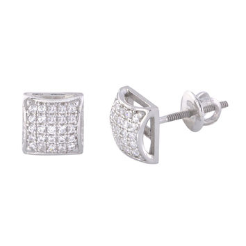 Screwback Earrings Mens Womens Sterling Silver CZ Studs 7mm Square Dome