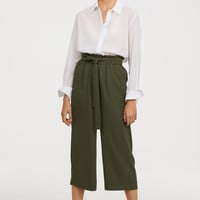 Ankle-length Pants - Dark khaki green - Ladies | H&M US