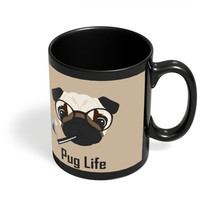 Pug Life Funny Dog illustration Black Coffee Mug