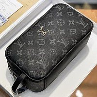 LV Fashion New Monogram Print Leather Women Men Handbag Cosmetic Bag Black