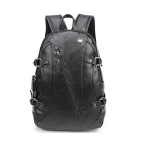 Backpack Men Leather Fashion Vintage Travel Men Bag for Teenagers