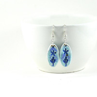 Ceramic Earrings Handmade Jewellery Matte Light Blue Purple Oval with Flower design Imprint Comes in Handmade Gift Pouch