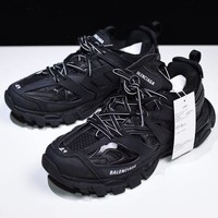 DCCK Balenciaga Men's Leather Tess.s.Gomma Sneakers Shoes