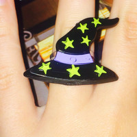 halloween witch hat adjustable back ring