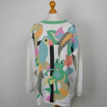 Oversized SNAKE frog PARROT animal zoo pattern NOVELTY jumper vintage 80s pastel colourful hipster indie geek chic kawaii quirky christmas M