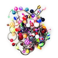 110 Piercing Kit Lot of Belly Ring,Labret,Tongue Ring,Eyebrow Ring,Tragus and Barbells Mix 14G,16G
